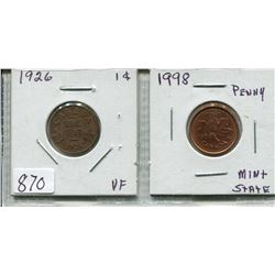 LOT OF 2 CNDN 1 CENT PCS (1926 & 1998)