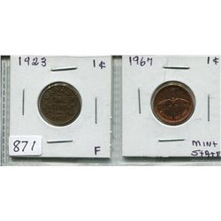 LOT OF 2  CNDN 1 CENT PCS (1923 & 1967)