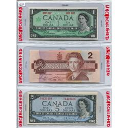 LOT OF 3 CNDN BANK NOTES  (1967 ONE DOLLAR, 1986 TWO DOLLAR & 1954 FIVE DOLLAR)