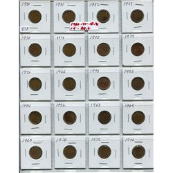 SHEET OF 20 CNDN 1 CENT PCS (1960s-1990s)