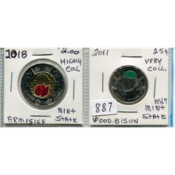 LOT OF 2 CNDN 2 DOLLAR (ARMISTICE) *HIGHLY COLL.* & 2011 CNDN 25 CENT PC (BISON) *VERY COLL.*