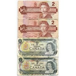 LOT OF 4 CNDN BANK NOTES (2 $1 1973s & 2 $2 1986s)