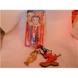 BETTY BOOP SWEET KLIK & KEY CHAINS (MCDONALD'S & DISNEY) = 3 PC TTL