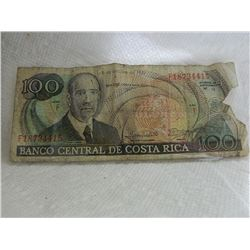 PAPER NOTE - BANCO CENTRAL DE COSTA RICA - 100 COLONES - 5 de octubre de1990 - as-is