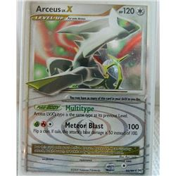 POKEMON COLLECTOR CARD IN PROTECTIVE SLEEVE - ARCEUS LV.X LEVEL UP - RARRE HOLO - 95/99