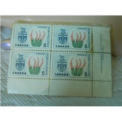 STAMPS - CANADA 5 CENTS - 1966 - FIRE WEED  - 4 TTL
