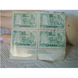 STAMPS - CANADA 50 CENTS - 1953 - CANADA TEXTILE INDUSTRY - 4 TTL