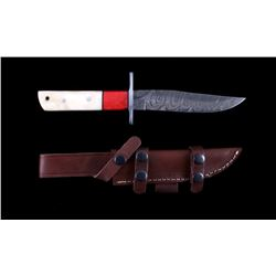 CFK Damascus Camel Knife w/ Leather Scabbard