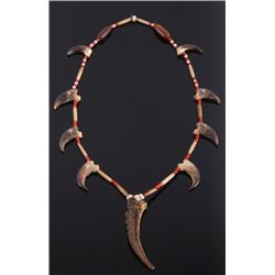 Plains Indian Bear Claw Turtle Tail Necklace