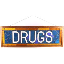 Antique Pharmacy Stained Glass Drugs Sign