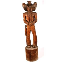 Montana Chainsaw Carved Wooden Cowboy Statue