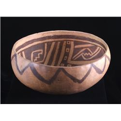 Mimbres White-On-Black Painted Pottery Vessel Bowl