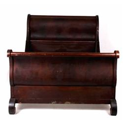 Early 20th Century Mahogany Sleigh Style Bed Frame