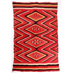 Early Navajo Eye Dazzler Pattern Wool Rug c. 1900