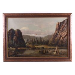 Original Oil on Canvas Indian Camp Painting