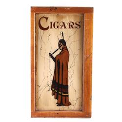 Antique Reverse Painted Glass Cigar Sign