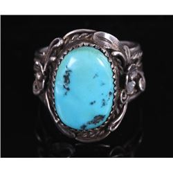 Signed Navajo Sleeping Beauty Sterling Silver Ring