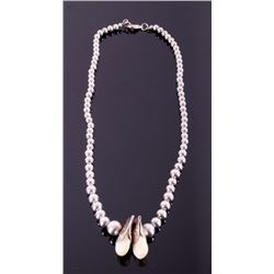 Plains Indian Elk Tooth & Silver Bead Necklace