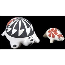 Pair of Acoma Polychrome Pottery Turtle Figures