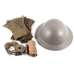 WWI USMC M1917 Helmet and Other Assorted Gear