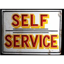 Hand Painted Metal Self Service Gasoline Sign