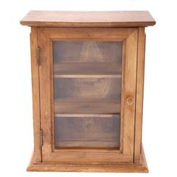 Cherry Wood and Glass Curio Display Cabinet