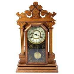Late 1800s New Haven 8 Day President Mantle Clock