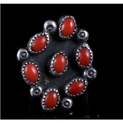 Navajo Sterling & Ox Blood Coral Trade Ring
