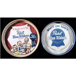 Two Pabst Blue Ribbon Advertising Trays