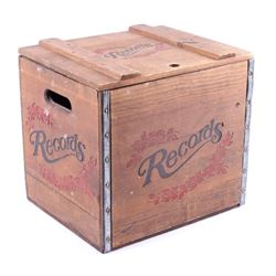 Contemporary Wooden Record Storage Crate
