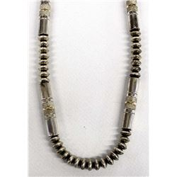 Elegant Navajo Sterling Silver Bead Necklace