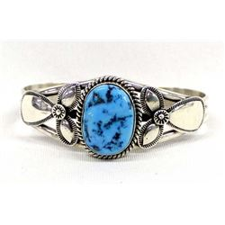 Navajo Sterling Turquoise Bracelet by M. Spencer