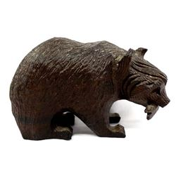 Carved Ironwood Bear with Fish