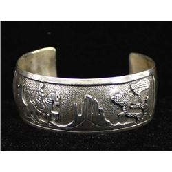 Navajo Sterling Storyteller Bracelet, Tom Willeto