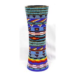 Large Hand Beaded Wood Vase by Kathy Kills Thunder