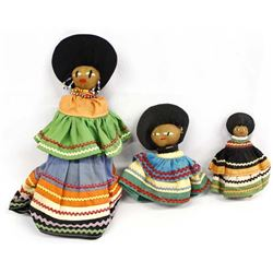 3 Vintage Native American Seminole Dolls