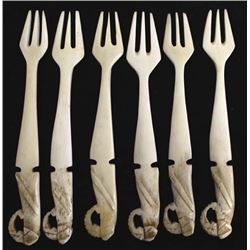 6 Asian Carved Bone Forks