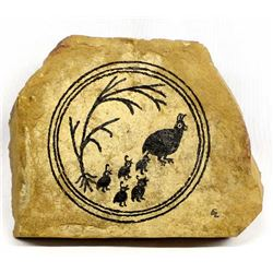 Mimbres Designed Quail Art on Flagstone