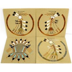 4 Native American Navajo Sand Paintings by W. Chee