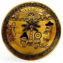 Vintage Mexican Wood Plate