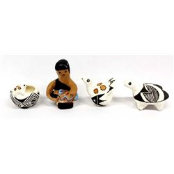 4 Pieces of Native American Pottery Miniatures