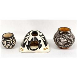 3 Small Pieces of Native American Acoma Pottery