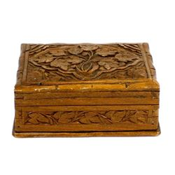 Vintage Carved Rosewood Puzzle Box