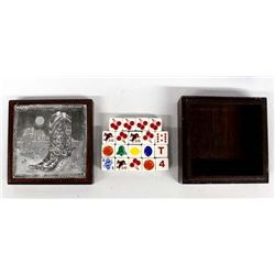 Western Wood Box with Vintage Casino Dice