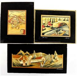 3 Vintage Mexican Straw Pictures