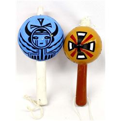 2 Hopi Hand Painted Gourd Rattles