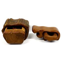 2 Hand Crafted Wood Puzzle Boxes