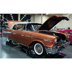 SATURDAY FEATURE 4:00 PM 1957 CHEVROLET BEL AIR CONVERTIBLE - STUNNING SIERRA GOLD ONLY 49 MILES SIN