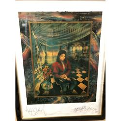 "Michael Jackson & Artist Strong Signed ""The Book"" Framed Print"