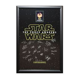 Star Wars - The Force Awakens Signed by Cast Movie Poster in Framed Case
